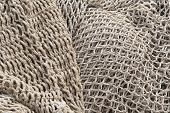 Fishery Nets, Abstract Background Of Old Fishing Nets Light Color. poster