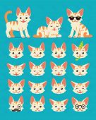 Cute Cat In Different Poses And Emotions. Vector Illustration Of  Kitty Constuctor On Blue Backgroun poster