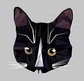 Vector Illustration Of Low Poly Cat Icon. Geometric Polygonal Cat Silhouette. Low Poly Kitten poster