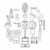 Appliances Icons Set. Outline Set Of 25 Appliances Vector Icons For Web Isolated On White Background poster