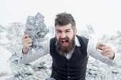 Income. Benefit. Earnings. People Concept. Portrait Of Glad Satisfied Rich Bearded Millionaire Demon poster