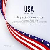 Patriotic American Background With Text Happy Independence Day Usa Background With The Ribbon Of The poster