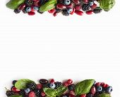 Black-blue And Red Berries Isolated On White. Ripe Blackberries, Blueberries, Raspberries, Cornels A poster