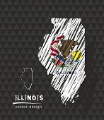 Illinois Map With Flag Inside On The Black Background. Chalk Sketch Vector Illustration poster
