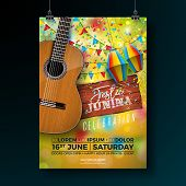 Festa Junina Party Flyer Illustration With Typography Design On Vintage Wood Board And Acoustic Guit poster