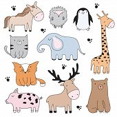 Vector Cartoon Illustration With Cute Doodle Animals. Perfect Set For Postcard, Valentines Day, Bir poster
