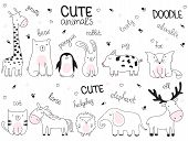 Vector Cartoon Sketch Illustration With Cute Doodle Animals poster