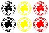 Постер, плакат: Made In Gabon Rubber Stamp Vector Gabon Map Pattern Black Yellow And Red