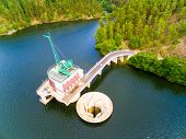 The Hracholusky dam with water power plant. The water reservoir on the river Mze. Source of renewabl poster