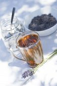 White Sugar In Glass Jars, Glass Of Water Flavored With Lavender Flowers. Herbal Lavender Tea In Gla poster