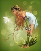 picture of camisole  - a little girl has found a fairy - JPG