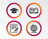 Pencil With Document And Open Book Icons. Graduation Cap And Geography Globe Symbols. Learn Signs. I poster