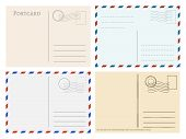 Travel Postcard Templates. Greetings Post Cards Backside Vector Set. Postal Empty Blank For Mail Ill poster