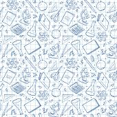 School Doodle Background. Vector Seamless Pattern From School Elements Hand Drawn On Notebook Sheet. poster