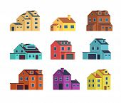 Houses Front View. Urban And Suburban House, Town Buildings, And Cottage Housing. Isolated Vector Il poster