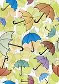 Autumn leaves and umbrellas