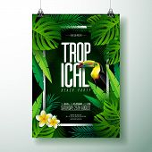 Vector Summer Tropical Beach Party Flyer Design With Toucan, Flower And Typographic Elements On Exot poster