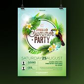 Vector Summer Beach Party Flyer Design With Flower Toucan On Exotic Leaf Background. Summer Nature F poster