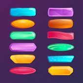 Colorful Windows Options For User Interface. Cartoon Buttons For Game Menu Interface. Collection Of  poster