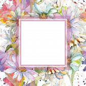 White Daisy. Floral Botanical Flower. Frame Border Ornament Square. Aquarelle Wildflower For Backgro poster