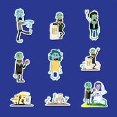 Cute Zombie Isolated Sticker Collection. Halloween Holiday Sign, Horror Monster Labels Set, Zombie P poster