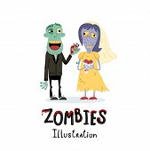 Funny Married Zombie Couple Character In Cartoon Style. Halloween Zombie Horror Fantasy Poster, Unde poster