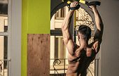 Mens Heals Body Care. Sportsman, Athlete, Muscular Macho Does Exercise With Trx Loops, Window On Bac poster