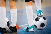 Indoor Soccer Players Training With Balls. Indoor Soccer Sports Hall. Football Futsal Player, Ball,  poster