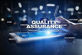 Quality Assurance Concept On The Virtual Screen. Business Concept poster