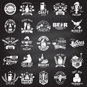 Set Of Craft Beer And Winery Company Badge, Sign Or Label. Vector On The Chalkboard. Vintage Design  poster