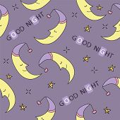 Doodle Good Night Seamless Pattern. Stars, Moon. Good Night. Hand Drawn Good Night Vector Cover. Car poster