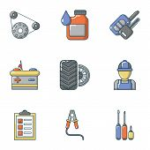 Repair Of Machinery Icons Set. Cartoon Set Of 9 Repair Of Machinery Vector Icons For Web Isolated On poster