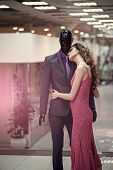 Fashion Model. Dress Outlet. Fashion, Style. Fashion Woman With Male Mannequin In Clothing Shop. Fas poster