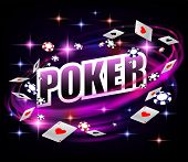 Casino Gambling Poker Background Design. Poker Banner With Chips And Playing Cards. Online Shiny Cas poster