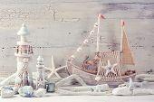 Marine life decoration on a white shabby background poster