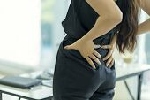 Businesswoman Suffering From Back And Waist Pain At Office, Office Syndrome. Health Concept. poster