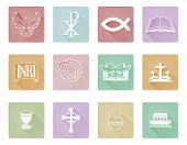 A Set Of Christian Icons And Symbols Inclusing Cross And Christian Fish poster