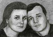 Drawed portrait of two middle-aged people