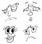 Ilustração de rostos funy branco
