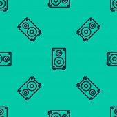 Blue Line Stereo Speaker Icon Isolated Seamless Pattern On Green Background. Sound System Speakers.  poster