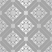 Grey And Silver Vintage Vector Seamless Pattern, Wallpaper. Elegant Classic Texture. Luxury Ornament poster