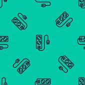 Blue Line Electric Extension Cord Icon Isolated Seamless Pattern On Green Background. Power Plug Soc poster