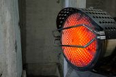 Heavy Duty Industrial Heater Blowing Hot Air In Cold Building Interior. Heat Compressor Or Heat Fan poster