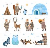 Arctic Expeditions And Discoveries North Pole Vector. Animals Penguin And Bear Grizzly, Husky And Do poster
