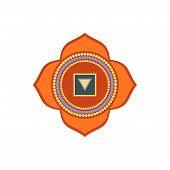 Muladhara.root Or Base Chakra.first Chakra Symbol Of Human. Vector Illustration Isolated On White Ba poster