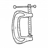Clamp Tool Icon. Vector Illustration Of A Vise. Hand Drawn Building Clamp. poster