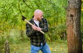 Brutal And Attractive Male In Forest. Power And Strength. Lumberjack Carry Ax. Bald Woodsman Worker. poster