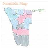 Namibia Hand-drawn Map. Colourful Sketchy Country Outline. Vector Illustration. poster