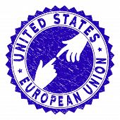 Connecting United States European Union Watermark. Blue Vector Round Grunge Watermark With Connectin poster