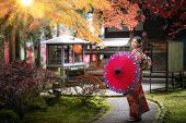Japanese Girl Wear The Traditional Kimono Costume Walk In Diagoji Temple With Autumn Background In K poster
